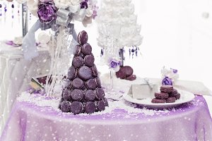 Set of three wedding croquembouche cakes