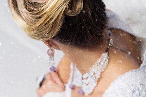 Close-up of bridal babette hairdo