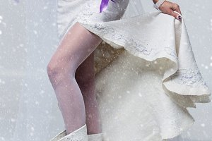 Bride in wool boots