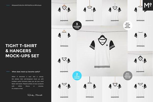 Tight T-shirt & Hangers Mock-ups Se…
