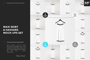 Maxi Skirt & Hangers Mock-ups Set