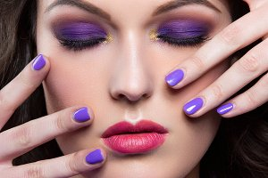 Brunette girl with purple make-up
