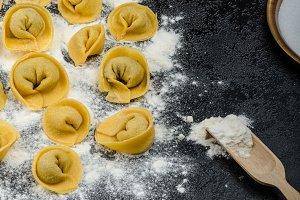 Homemade pasta tortellini stuffed