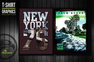 NY & California tee shirt graphics