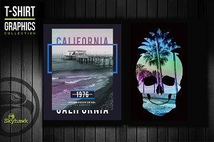 California & skull tee shirt graphic