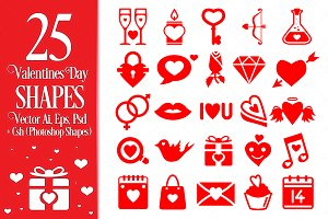 Valentines Day Vector Shapes