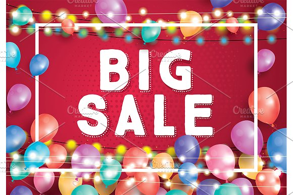 Big Sale Poster On Red Background