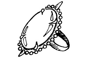 Ring jewerly sketched art vector