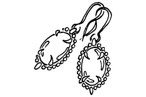 Earrings jewerly sketched art vector