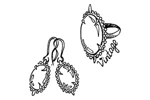 Ring earrings jewerly sketch vector