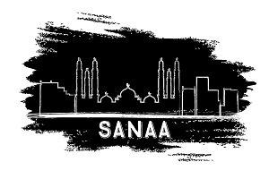 Sanaa (Yemen) Skyline Silhouette.