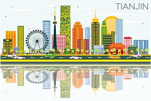 Tianjin Skyline with Color Buildings