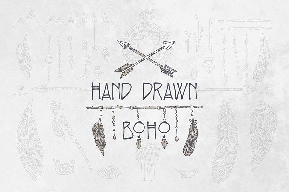 Hand Drawn Boho Elements