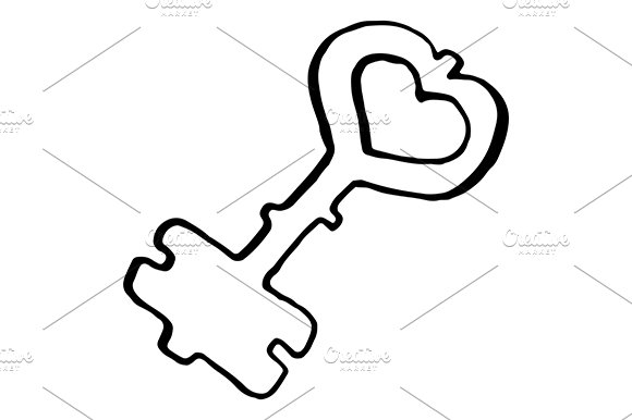 Doodle Key Ink Sketch Art Vector
