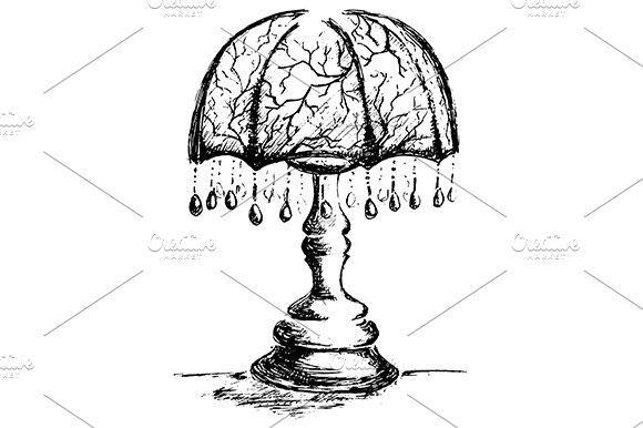 Vintage Retro Lamp Sketch Vector