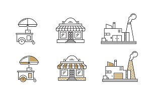 vector shop outline icons