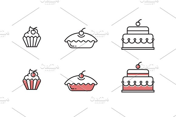 Vector Sweets Outline Icons