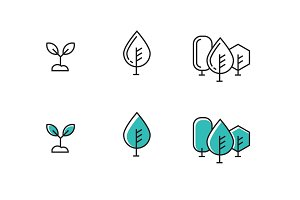 vector tree outline icons