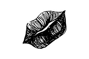 Monochrome lips sketched art vector