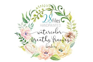 Flower Watercolor Clipart - Wreath