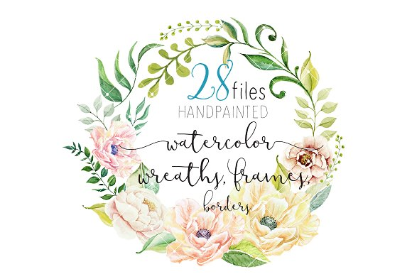 Flower Watercolor Clipart Wreath