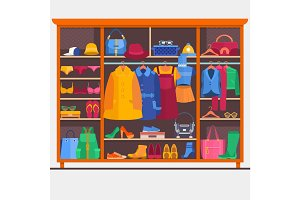 Wardrobe room full of woman s cloths. Vector illustration.