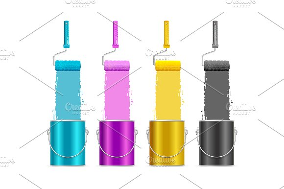 Palette Ink CMYK Concept Can Bucket