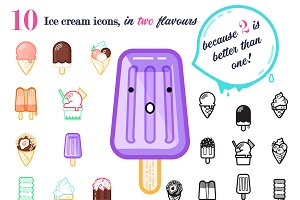10 ICE CREAM icons, in two flavours