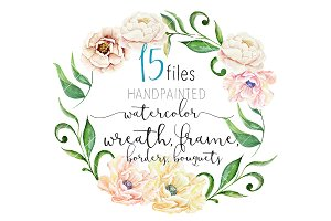 Watercolor flower Clipart, Wreath
