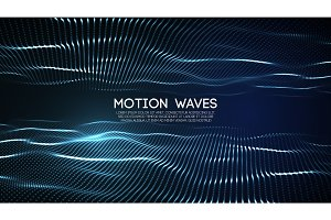 3D glowing abstract digital wave particles. Futuristic vector illustration. HUD element. Technology concept. Abstract background.
