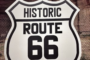 Route 66 sign.