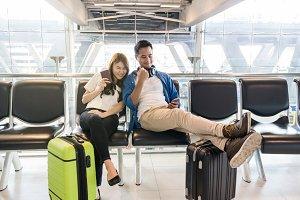 Happiness Asian couple traveler