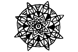 Doodle circle mandala ink art vector