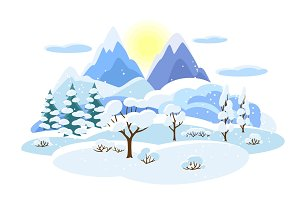 Winter landscape with trees, mountains and hills. Seasonal illustration