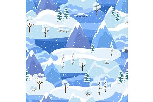 Winter seamless pattern with trees, mountains and hills. Seasonal landscape illustration