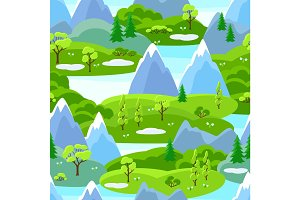 Spring seamless pattern with trees, mountains and hills. Seasonal landscape illustration