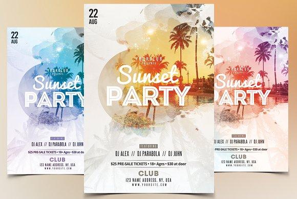 sunset party psd flyer template flyer templates creative market