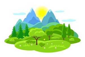 Summer landscape with trees, mountains and hills. Seasonal illustration