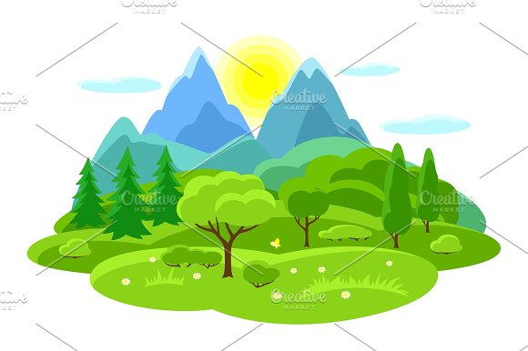 Summer Landscape With Trees Mountains And Hills Seasonal Illustration