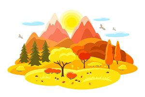 Autumn landscape with trees, mountains and hills. Seasonal illustration