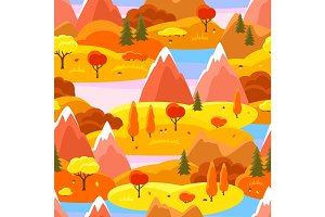 Autumn seamless pattern with trees, mountains and hills. Seasonal landscape illustration