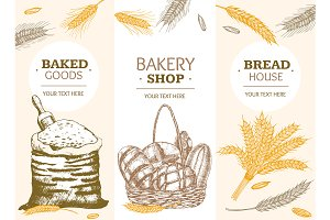 Bakery Banner Hand Draw Sketch.