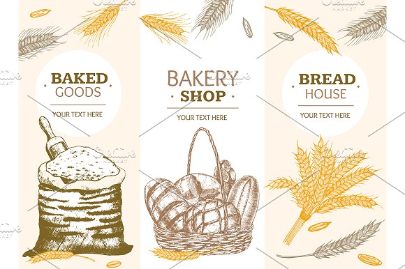 Bakery Banner Hand Draw Sketch