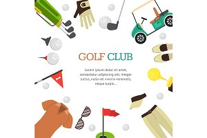 Golf Club Banner Flat Design Style