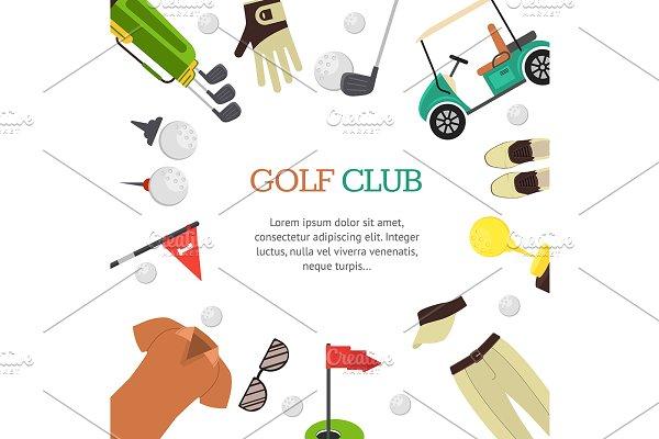 Golf Club Banner Flat Design Style Pre Designed Illustrator Graphics Creative Market