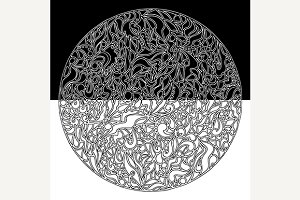 Doodle circle pattern texture vector