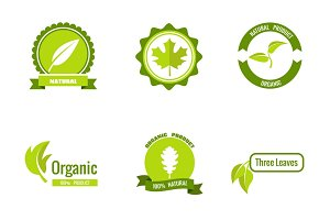 Natural products logos with leaves