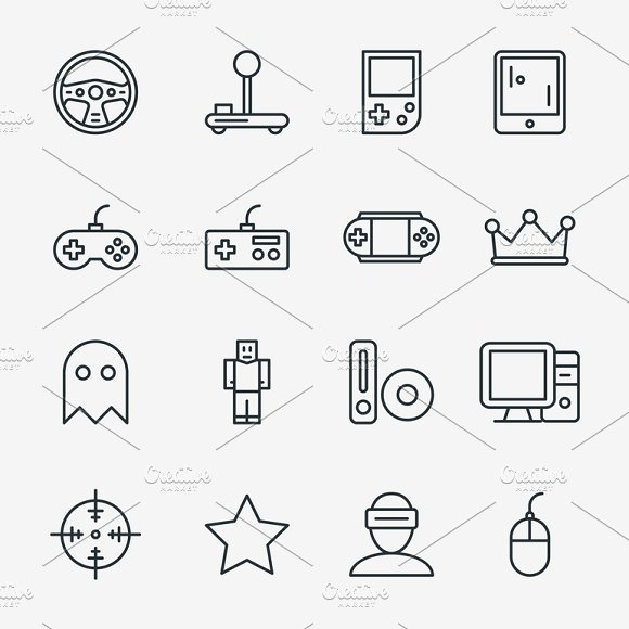 Video Game Linear Icon Set