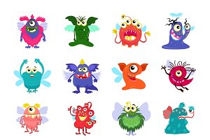 Flying cartoon monsters vector set