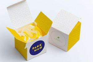 Soft Paper Cube Gift Box Mockup 01
